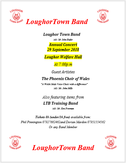 Loughour Town Band Concert 2018