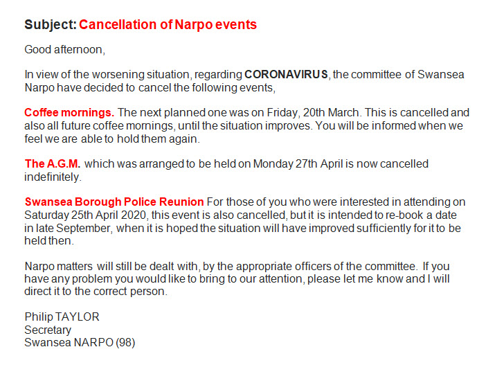 Cancellation of events
