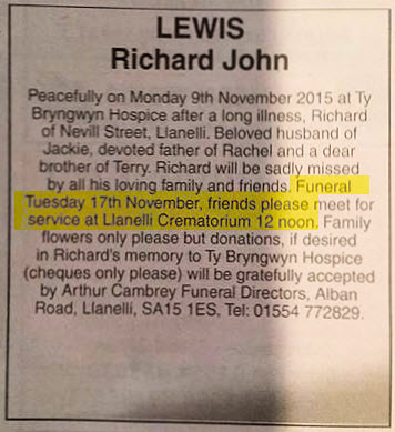 Obituary Ritchie Lewis