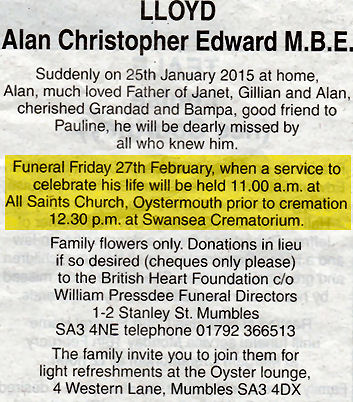 Obituary Alan Lloyd