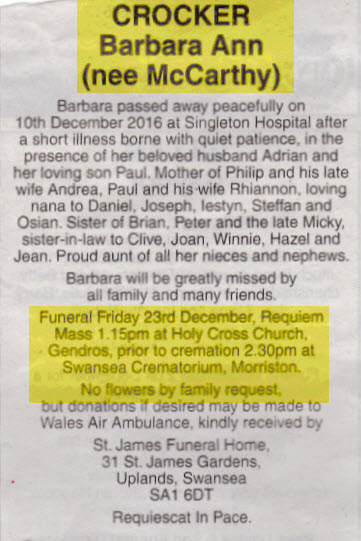 Obituary Barbara Crocker