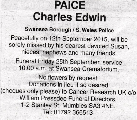 Obituary Charles Paice