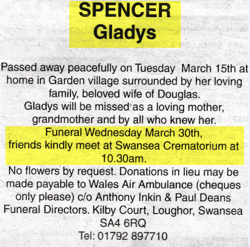 Obituary Gladys Spencer