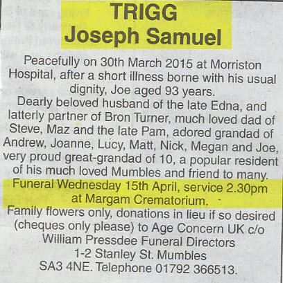 Obituary Joe Trigg