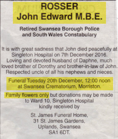 Obituary John Rosser
