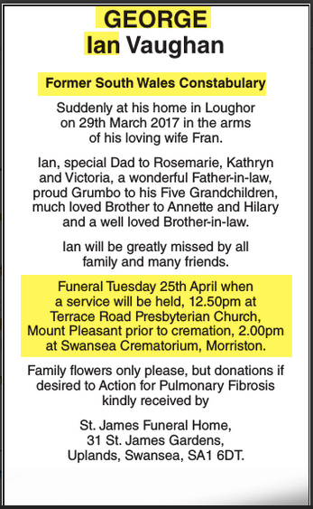 Obituary Ian George